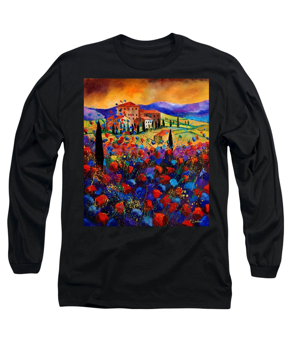 Flowers Long Sleeve T-Shirt featuring the painting Tuscany Poppies by Pol Ledent