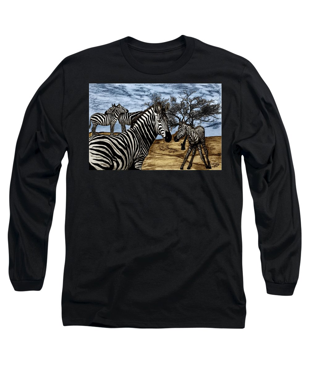 Zebra Outback Long Sleeve T-Shirt featuring the drawing Zebra Outback by Peter Piatt