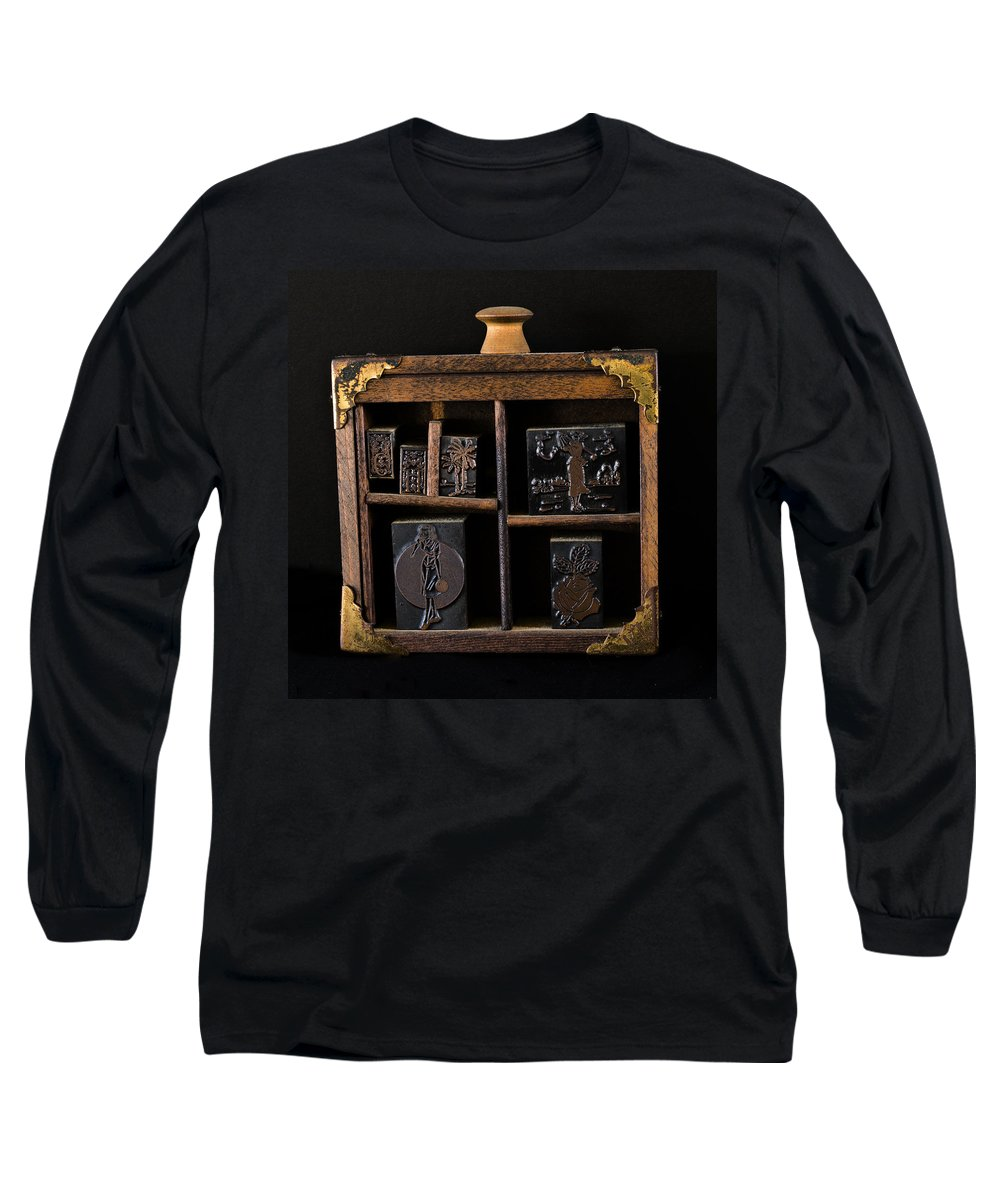 Stamp; Ink; Block; Pad; Frame; Old; Metal; Sport; Woman; Florida; Rose; Palm; Golf; Bowling; Brass; Long Sleeve T-Shirt featuring the photograph 1890 Ink Stamps For Letters by Allan Hughes
