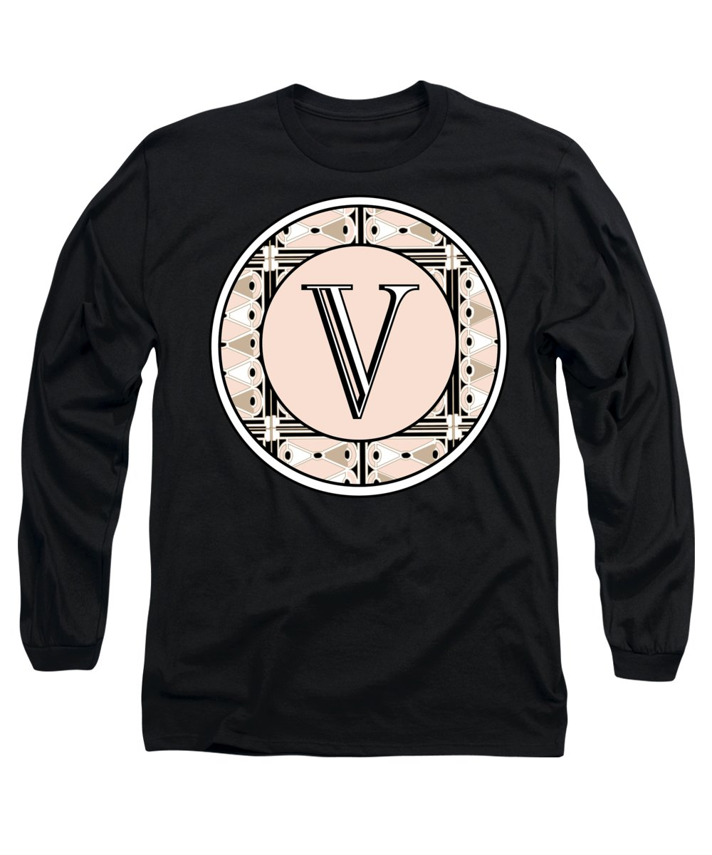 Art Deco Long Sleeve T-Shirt featuring the digital art 1920s Pink Champagne Deco Monogram V by Cecely Bloom