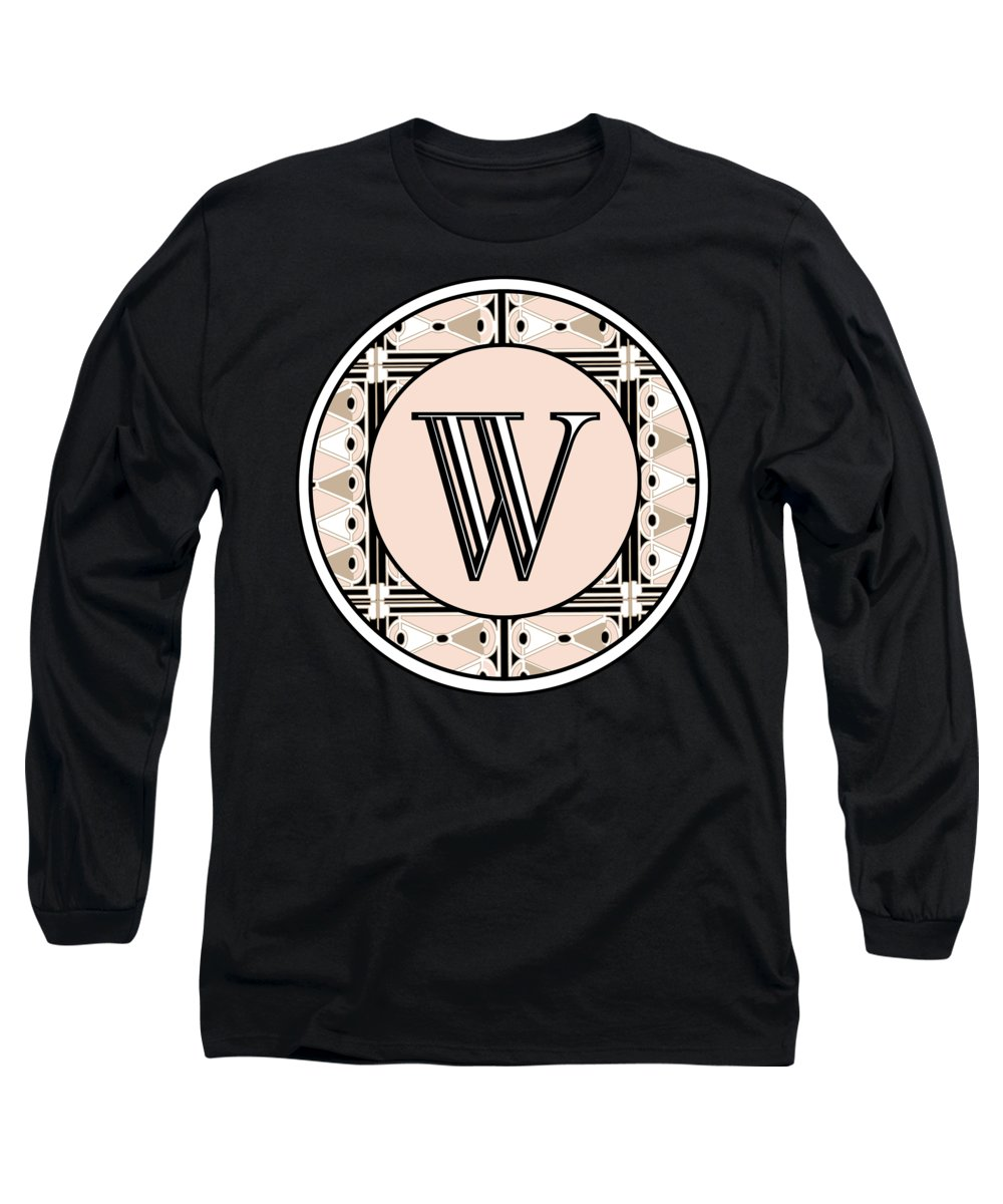 Art Deco Long Sleeve T-Shirt featuring the digital art 1920s Pink Champagne Deco Monogram W by Cecely Bloom