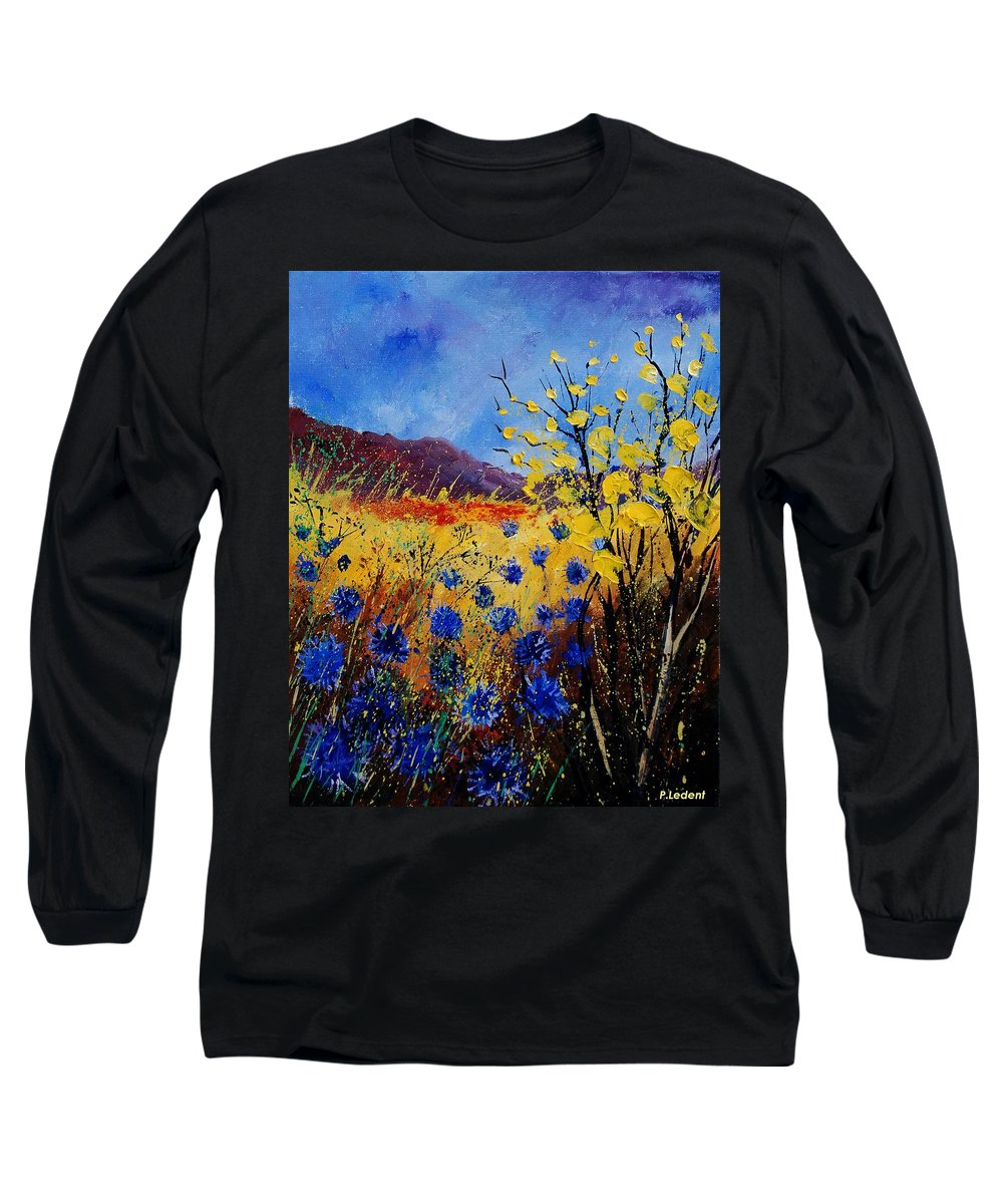 Poppies Flowers Floral Long Sleeve T-Shirt featuring the painting Blue Cornflowers by Pol Ledent