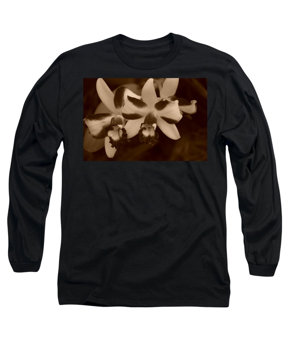 Macro Long Sleeve T-Shirt featuring the photograph Double Orchid by Rob Hans