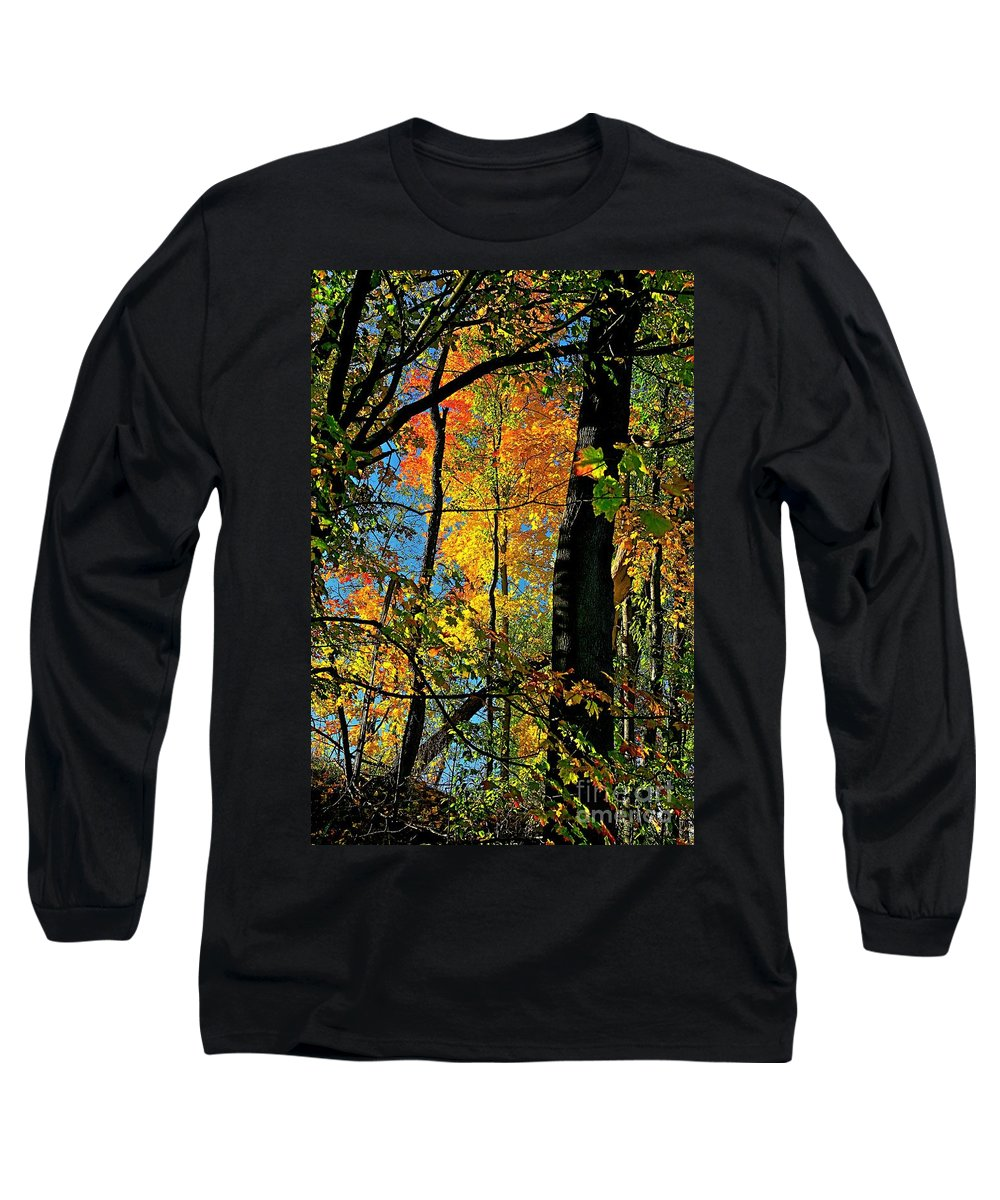 Fall Long Sleeve T-Shirt featuring the photograph Fall Fire Works by Robert Pearson