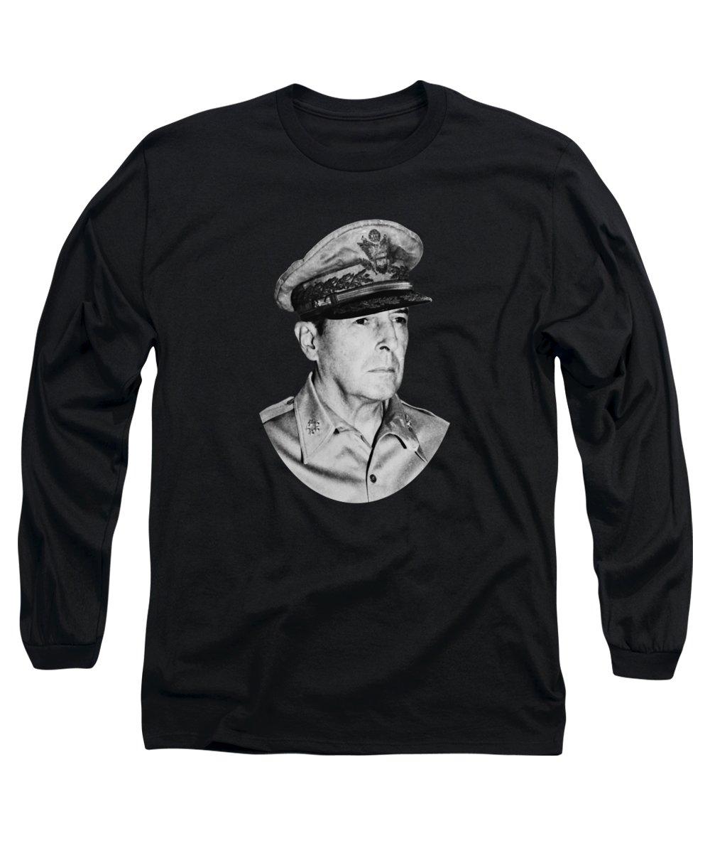 Douglas Macarthur Long Sleeve T-Shirt featuring the photograph General Macarthur by War Is Hell Store