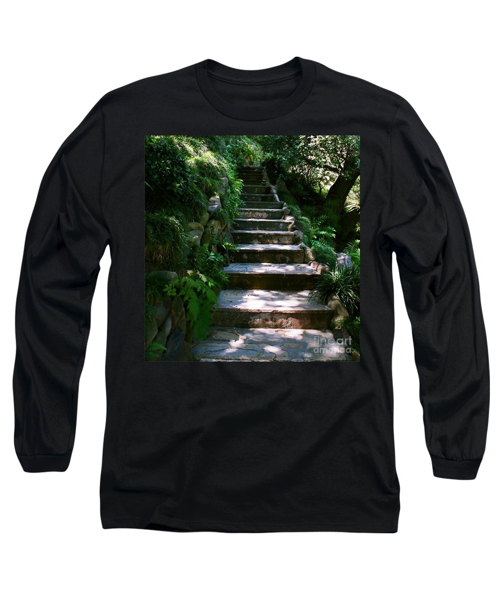 Nature Long Sleeve T-Shirt featuring the photograph Stone Steps by Dean Triolo
