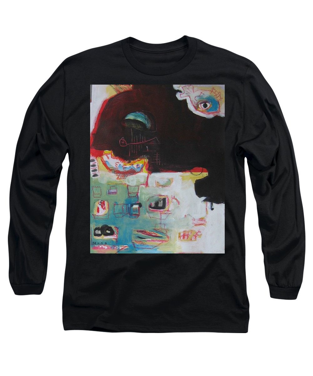 Abstract Paintings Long Sleeve T-Shirt featuring the painting Little Bay by Seon-Jeong Kim