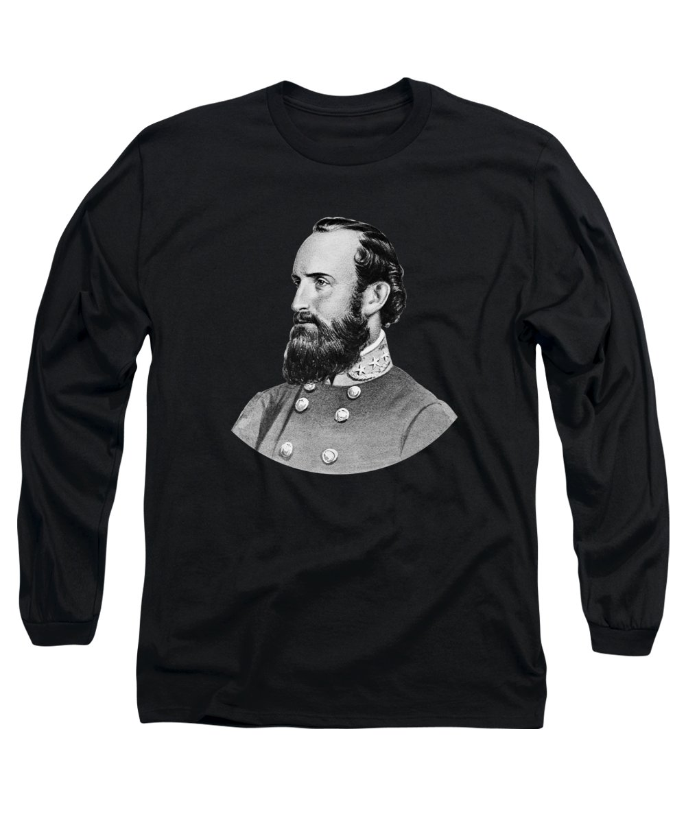 Stonewall Jackson Long Sleeve T-Shirt featuring the painting Stonewall Jackson - Six by War Is Hell Store