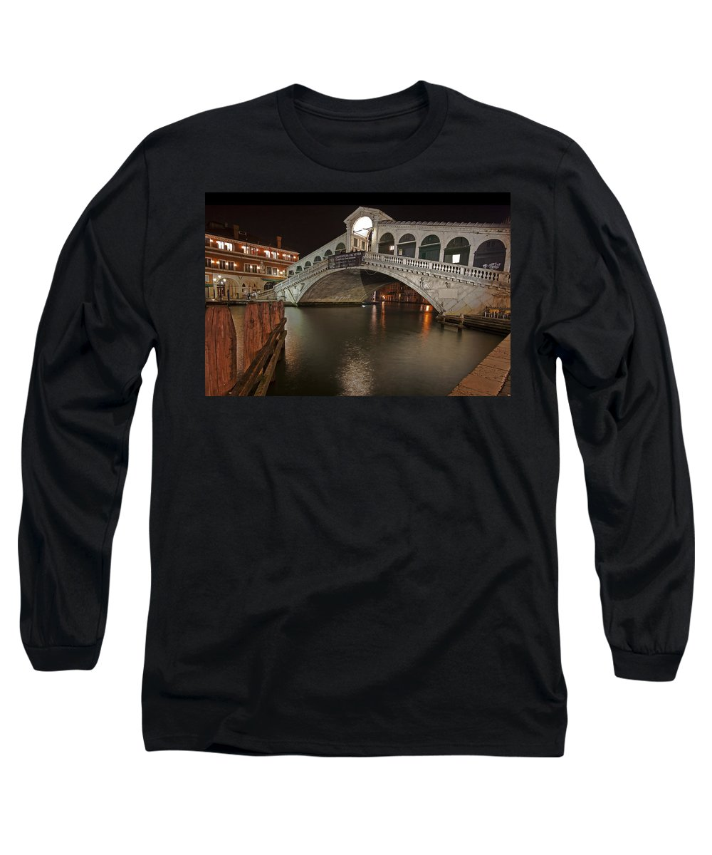 Architecture Long Sleeve T-Shirt featuring the photograph Venice By Night by Joana Kruse