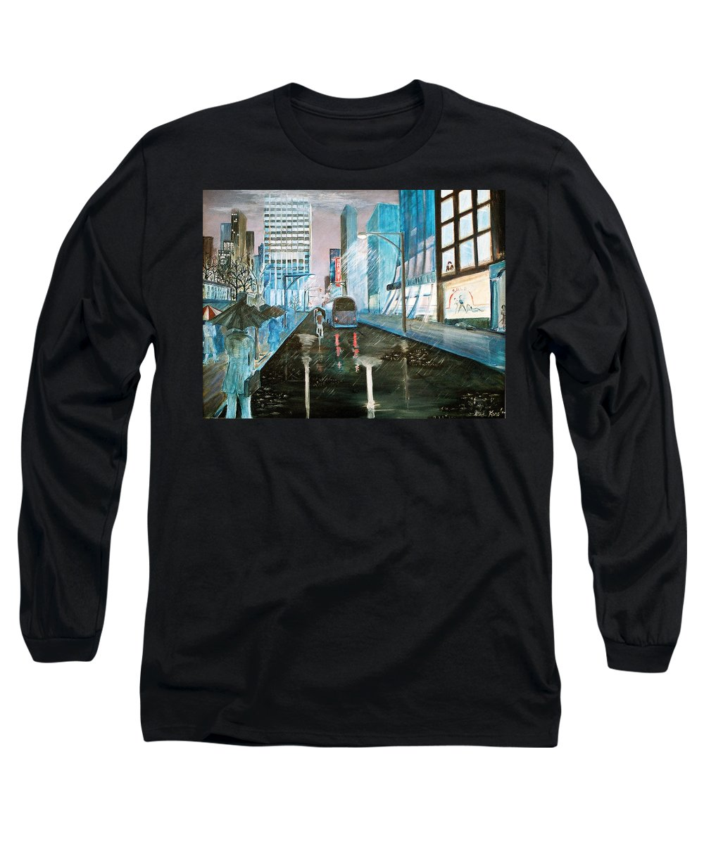 Street Scape Long Sleeve T-Shirt featuring the painting 42nd Street Blue by Steve Karol