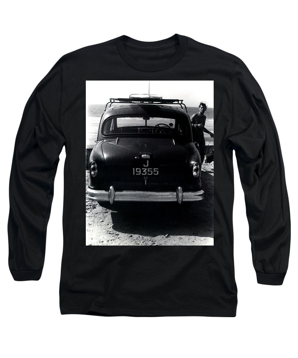 Surf Long Sleeve T-Shirt featuring the photograph 50's Surfer by Charles Stuart