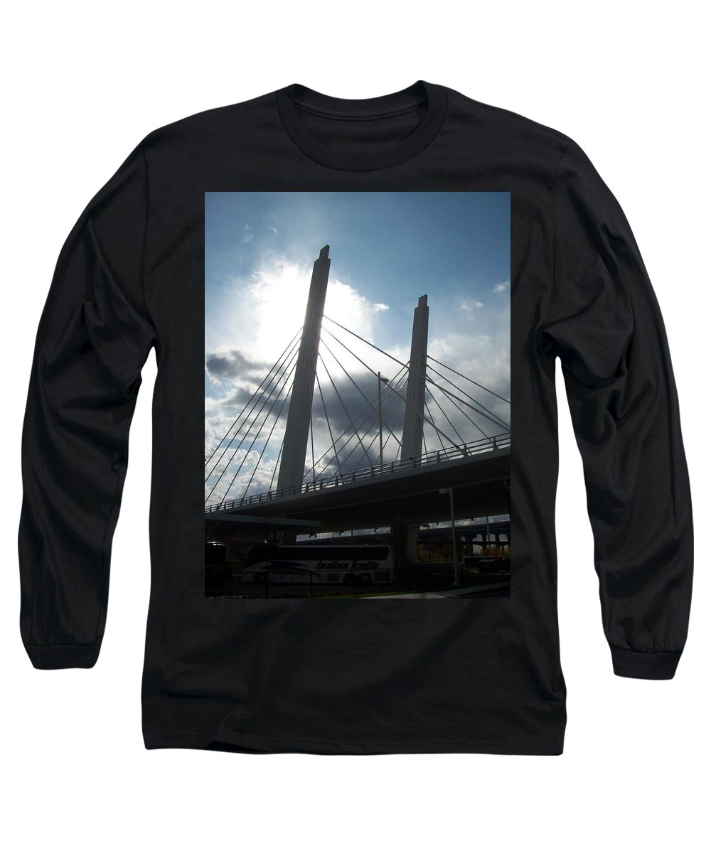 Bridge Long Sleeve T-Shirt featuring the photograph 6th Street Bridge Backlit by Anita Burgermeister
