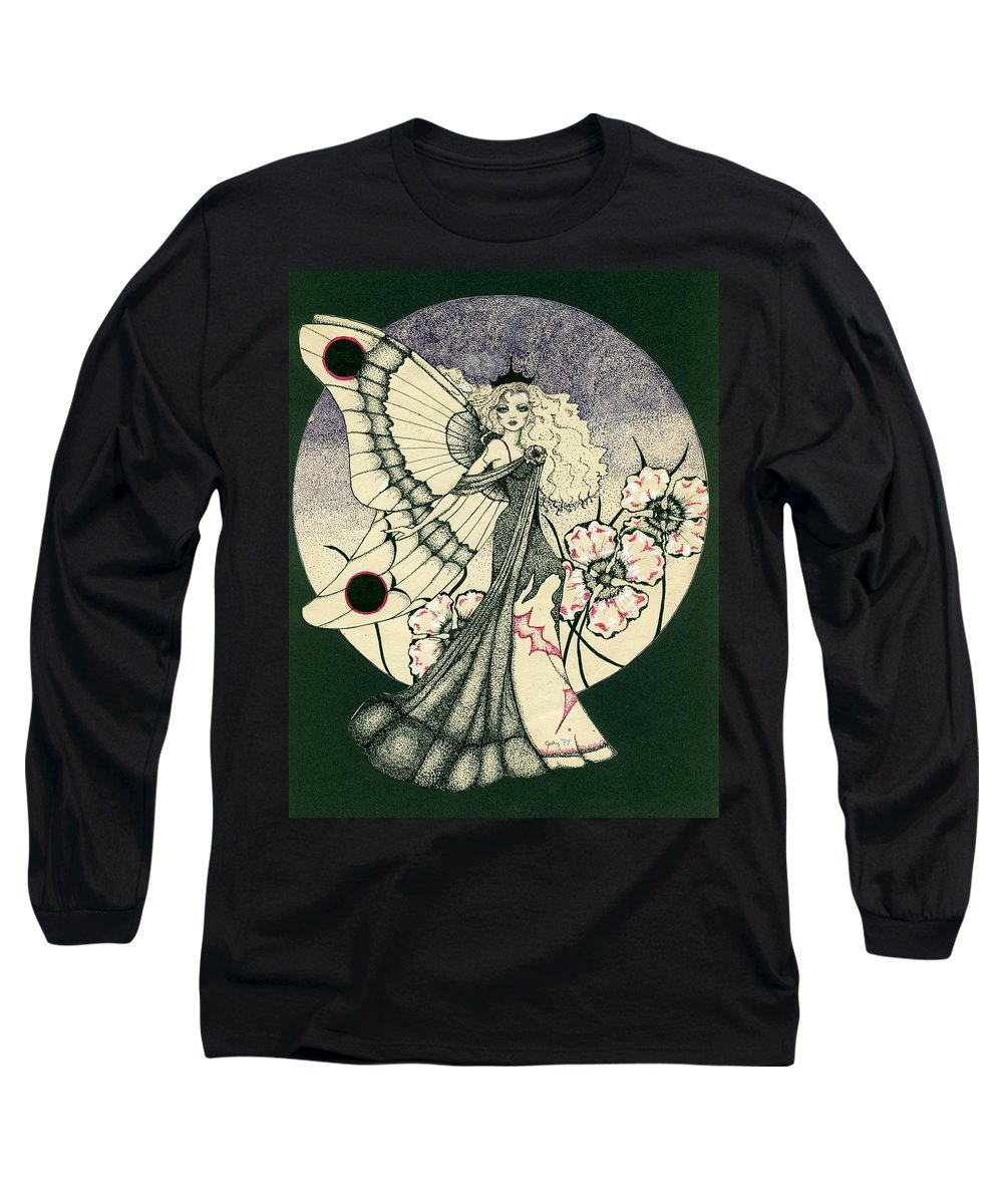 70's Style Long Sleeve T-Shirt featuring the drawing 70's Angel by V Boge