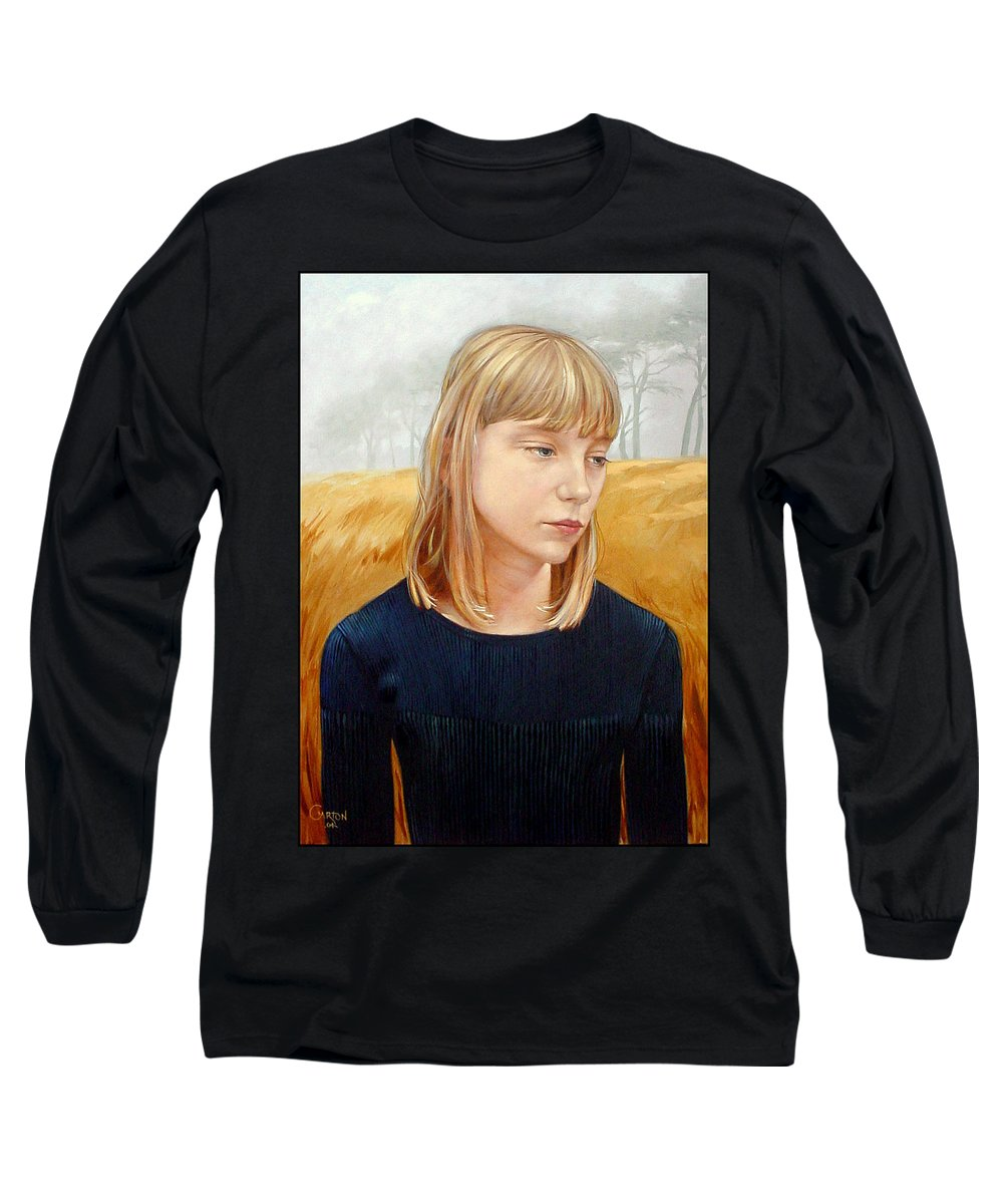 Girl Long Sleeve T-Shirt featuring the painting A Gang Of Crows by Jerrold Carton