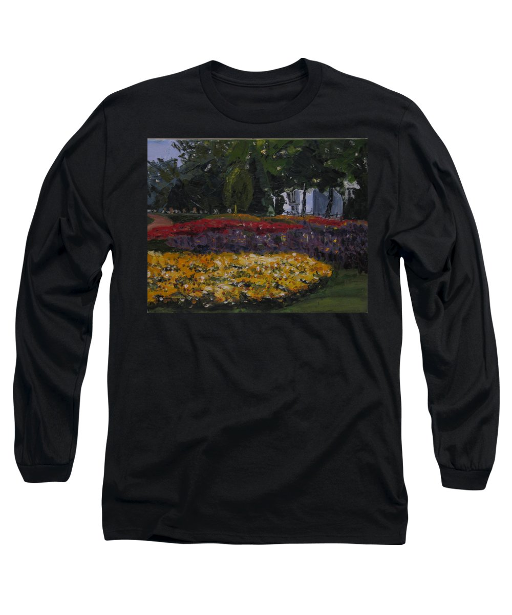 Landscape Long Sleeve T-Shirt featuring the painting A Park In Cambrige by Piety Choi