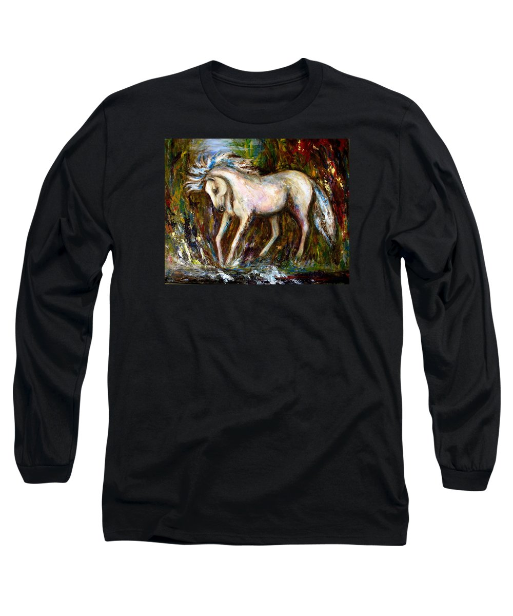 Horse Painting Long Sleeve T-Shirt featuring the painting A Secret Place White Hores Painting by Frances Gillotti