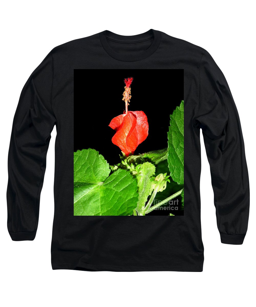 Nature Long Sleeve T-Shirt featuring the photograph A Swirl Of Red by Lucyna A M Green