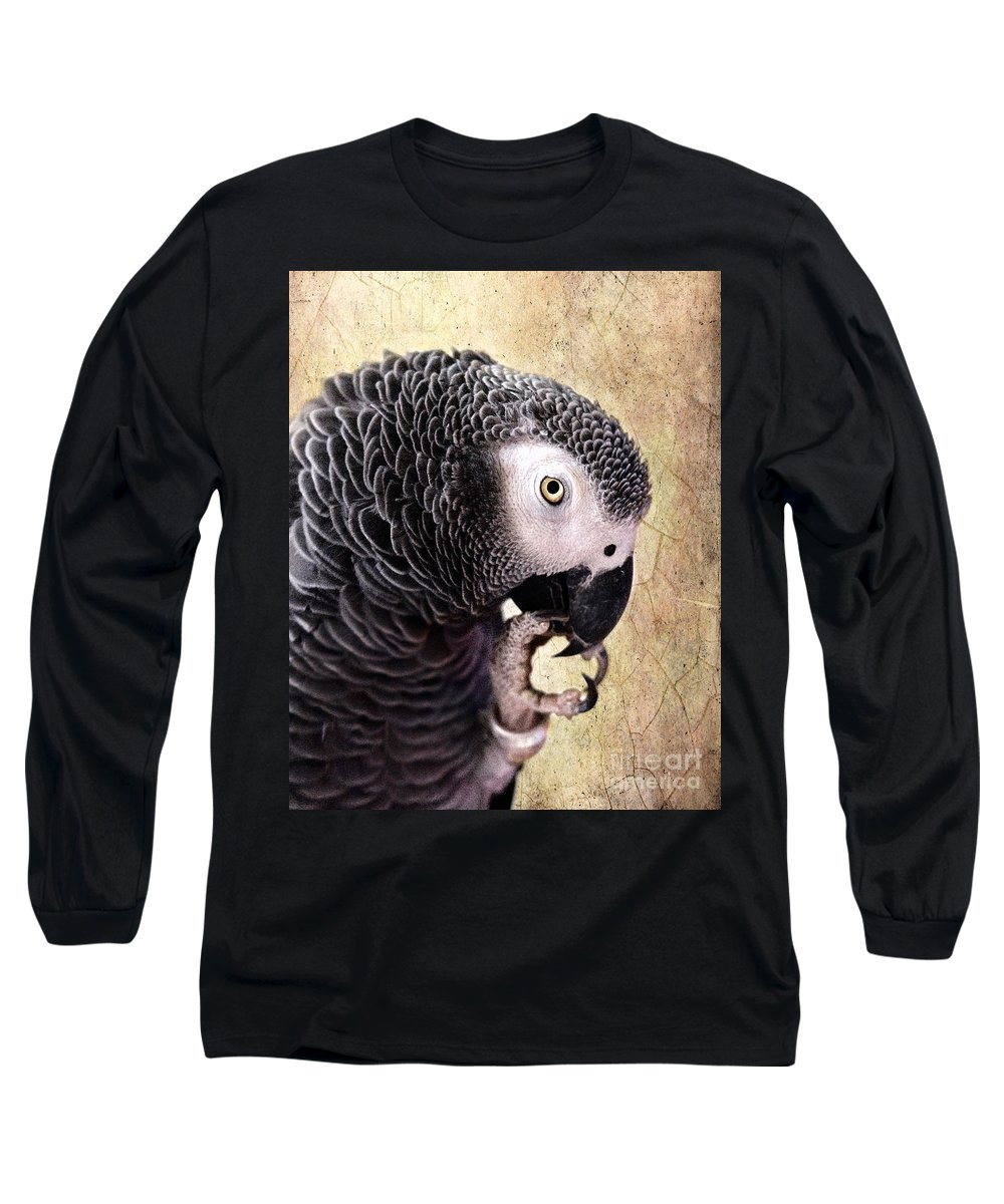 African Gray Parrot Long Sleeve T-Shirt featuring the photograph A Touch Of Grey by Betty LaRue