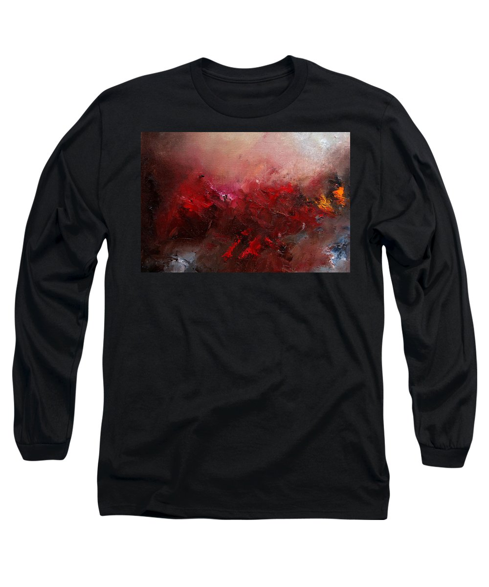 Abstract Long Sleeve T-Shirt featuring the painting Abstract 056 by Pol Ledent