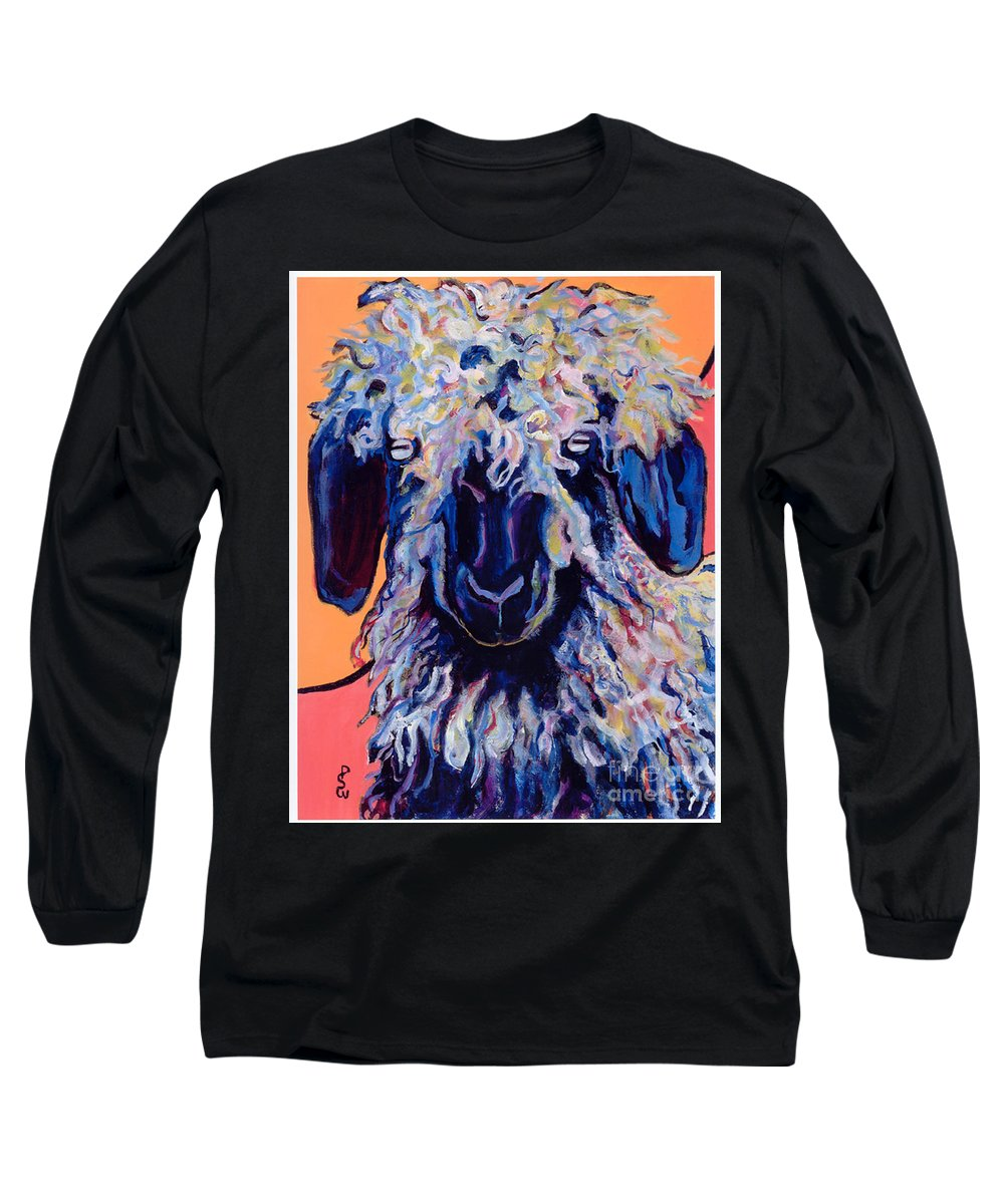 Goat Print Long Sleeve T-Shirt featuring the painting Adelita  by Pat Saunders-White