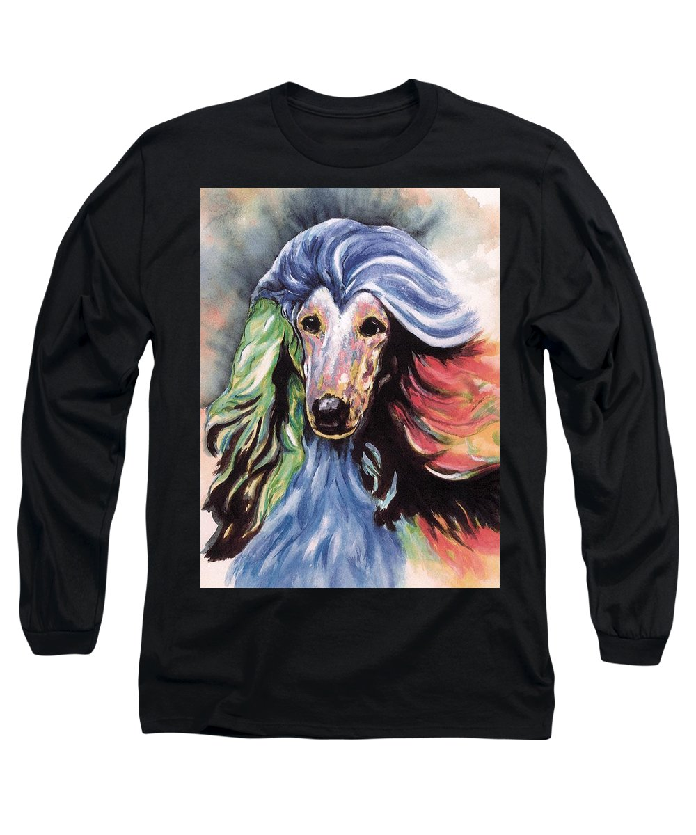 Afghan Hound Long Sleeve T-Shirt featuring the painting Afghan Storm by Kathleen Sepulveda