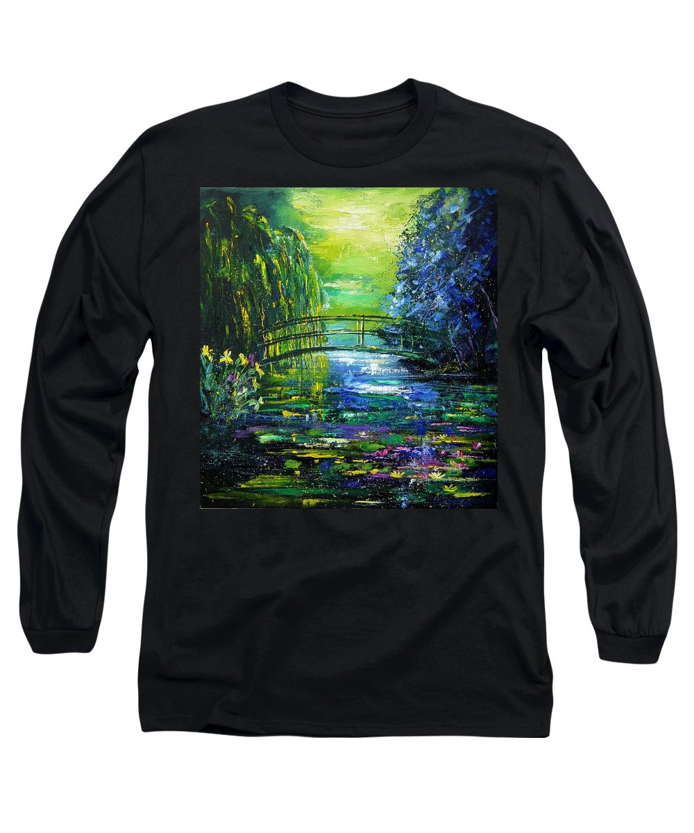 Pond Long Sleeve T-Shirt featuring the painting After Monet by Pol Ledent