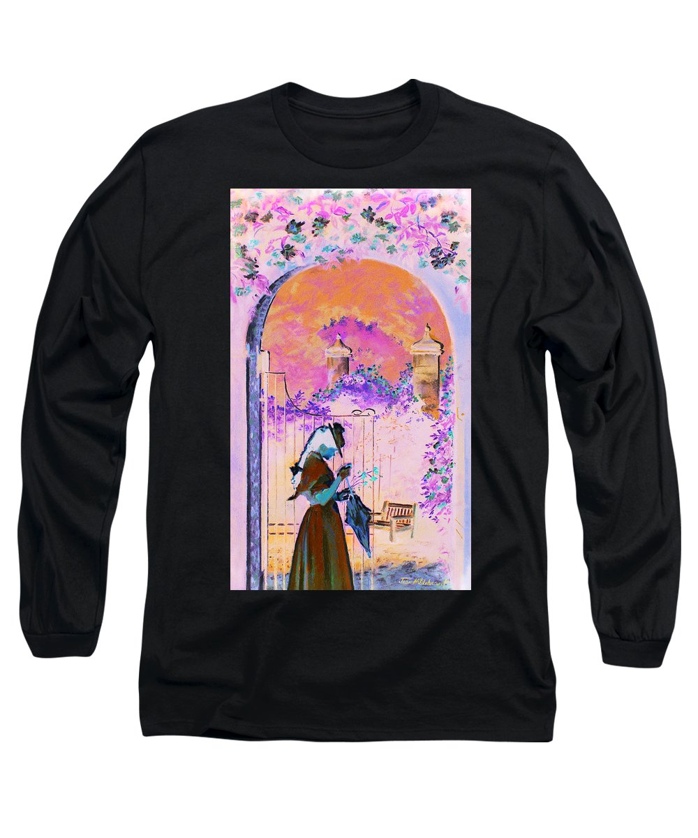 Rose Long Sleeve T-Shirt featuring the painting Afternoon Stroll by Jean Hildebrant