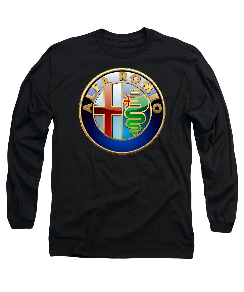 Wheels Of Fortune� Collection By Serge Averbukh Long Sleeve T-Shirt featuring the photograph Alfa Romeo - 3 D Badge On Black by Serge Averbukh