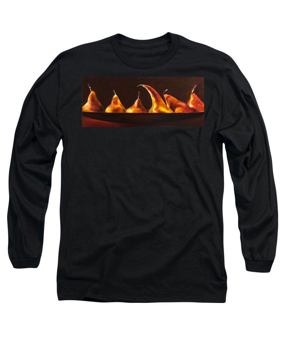 Pears Long Sleeve T-Shirt featuring the painting All Aboard by Shannon Grissom