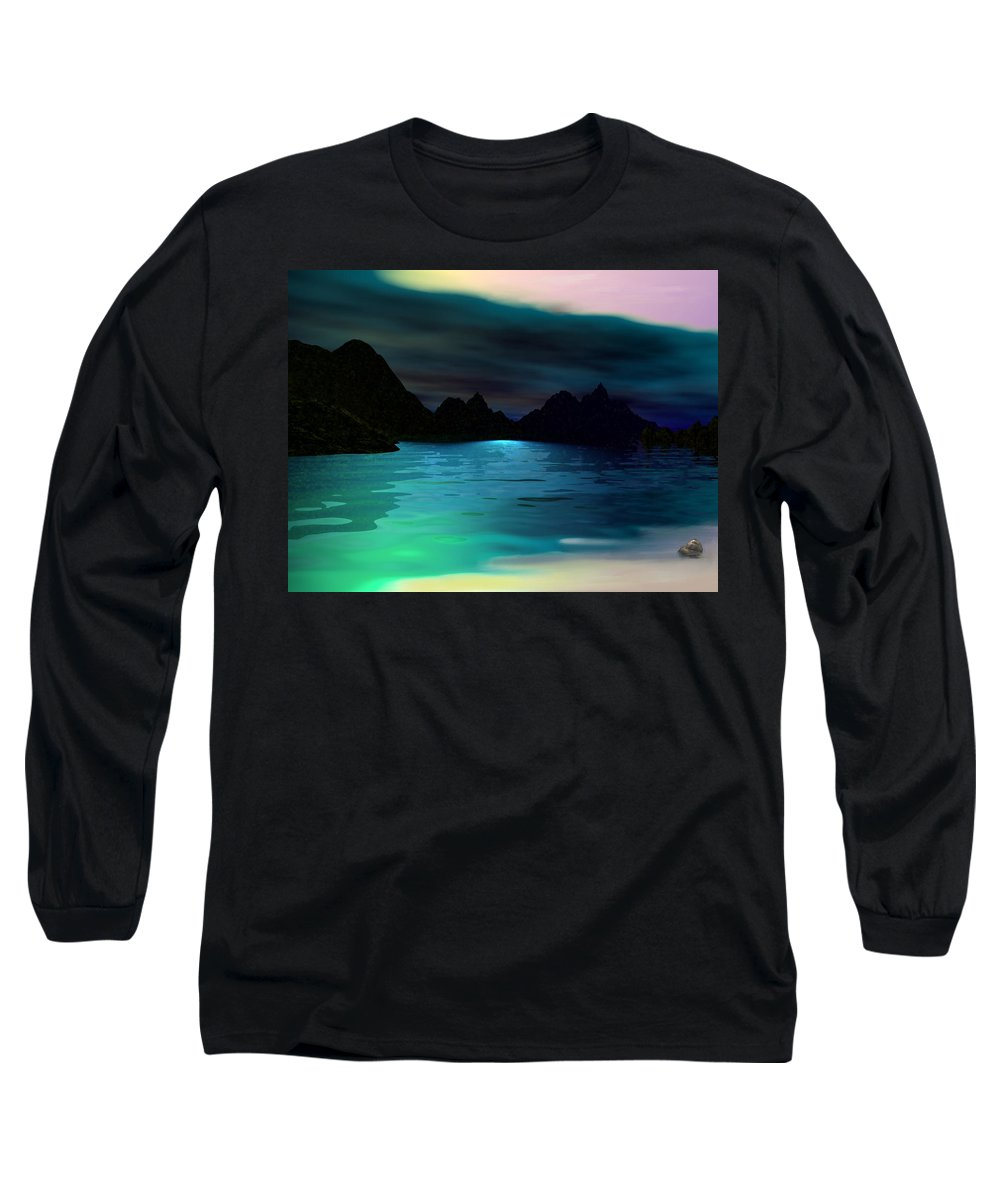 Seascape Long Sleeve T-Shirt featuring the digital art Alone On The Beach by David Lane