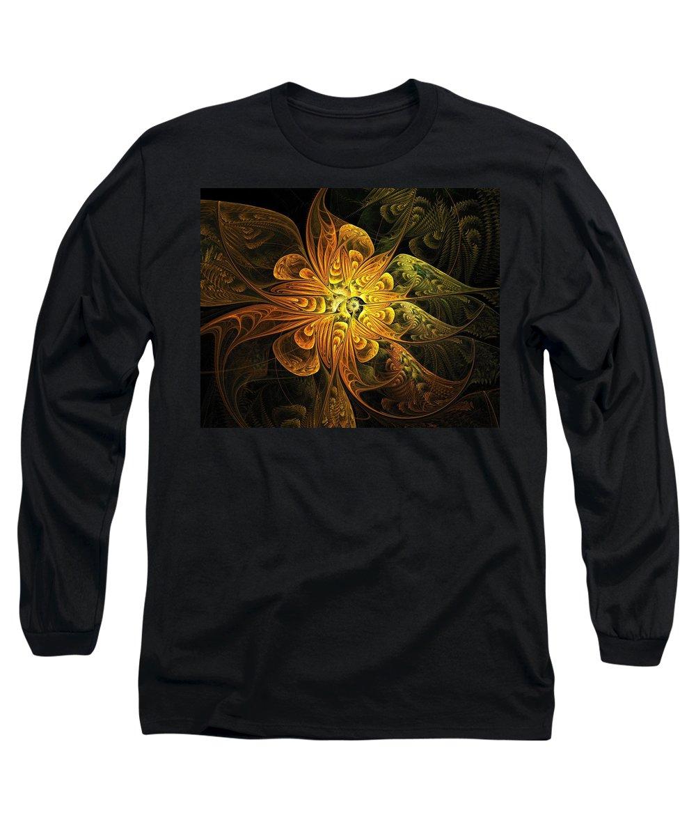 Digital Art Long Sleeve T-Shirt featuring the digital art Amber Light by Amanda Moore