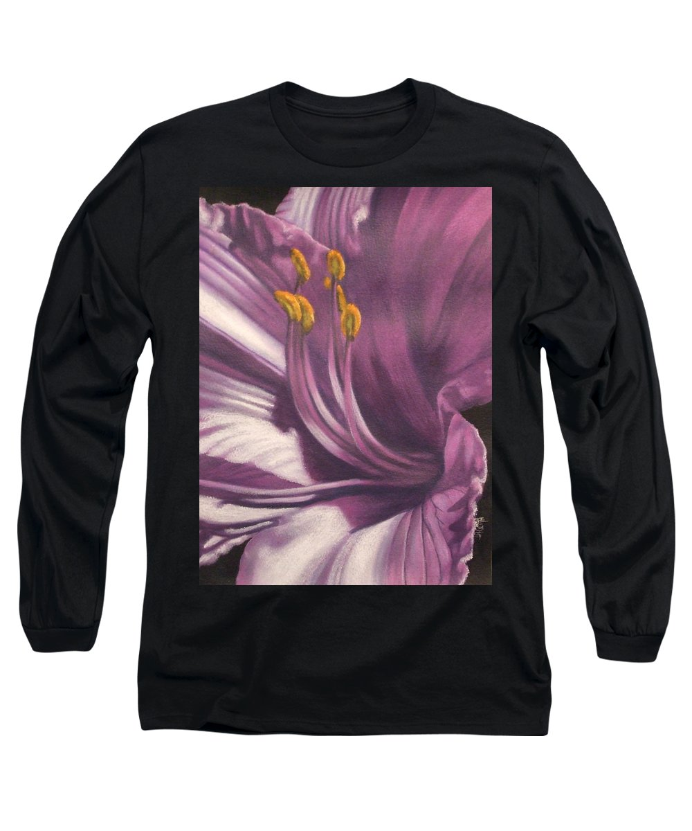 Floral Long Sleeve T-Shirt featuring the mixed media Amethyst by Barbara Keith