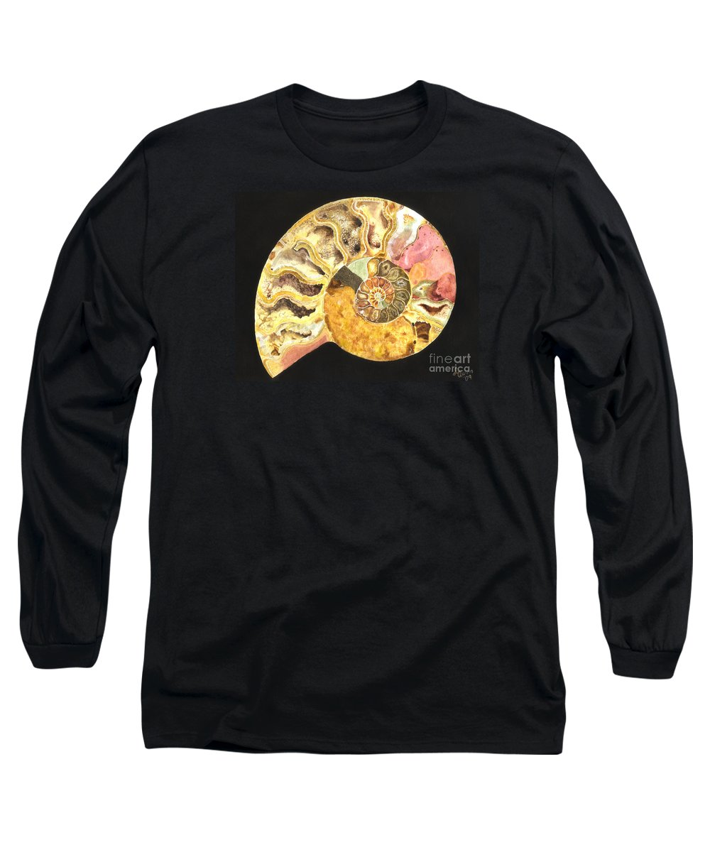 Ammonite Fossil Long Sleeve T-Shirt featuring the painting Ammonite Fossil by Lynn Quinn