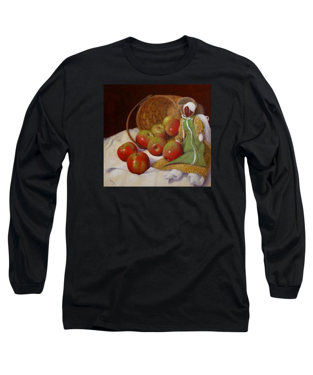 Realism Long Sleeve T-Shirt featuring the painting Apple Annie by Donelli DiMaria