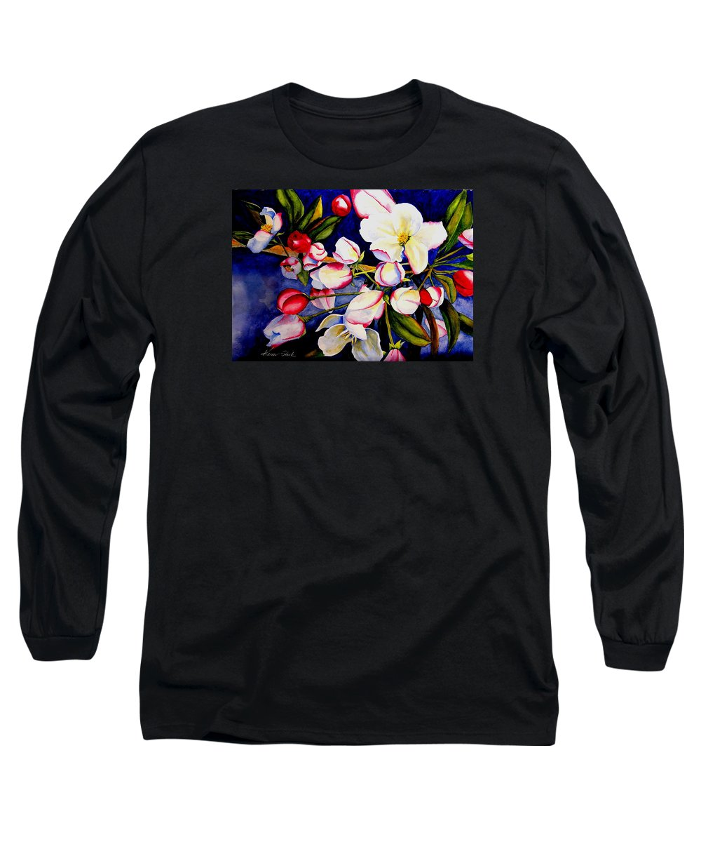 Apple Blossoms Long Sleeve T-Shirt featuring the painting Apple Blossom Time by Karen Stark