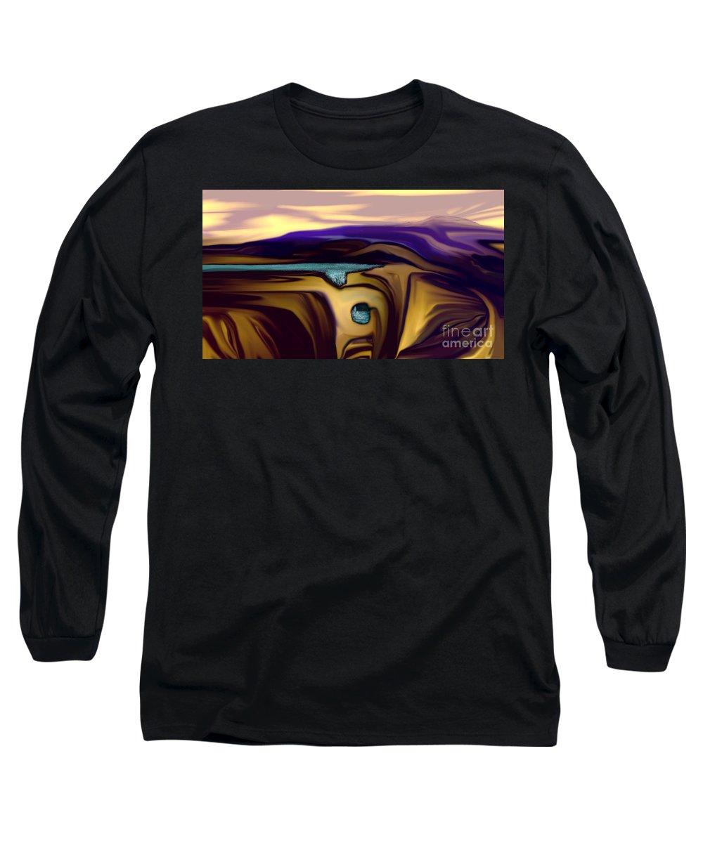 Abstract Long Sleeve T-Shirt featuring the digital art Aquifer by David Lane