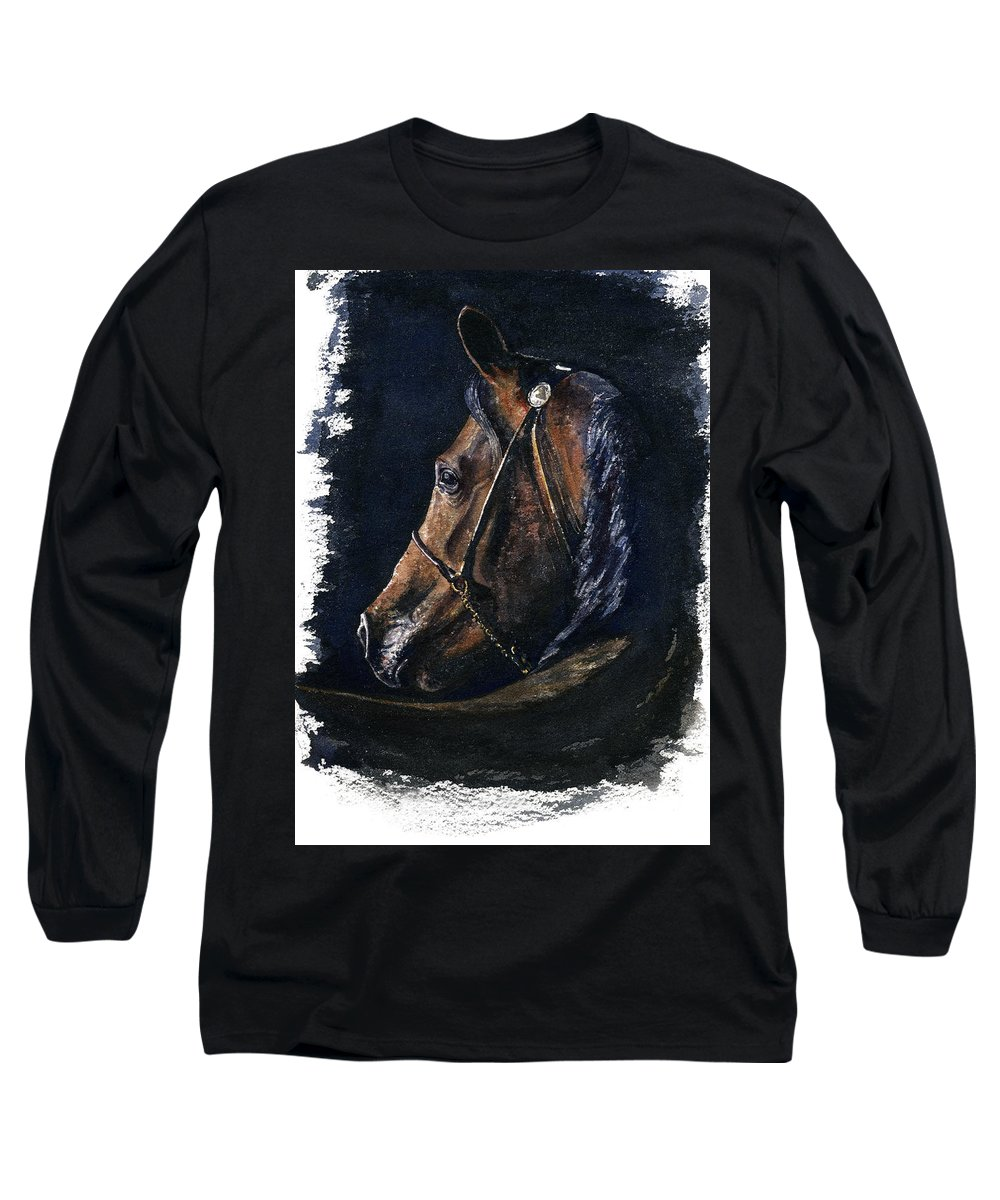 Horse Long Sleeve T-Shirt featuring the painting Arabian by John D Benson