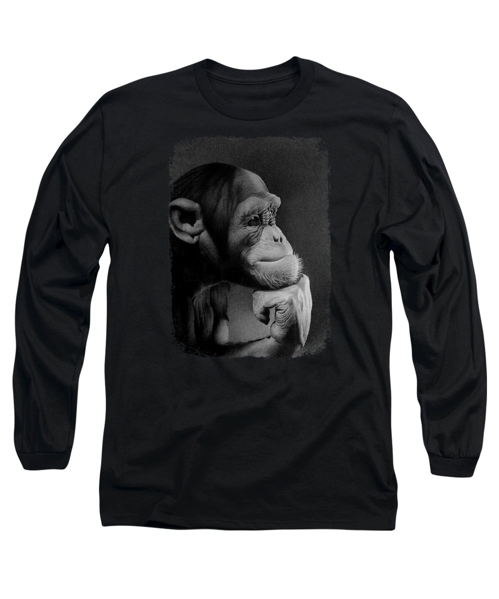 Monkey Long Sleeve T-Shirt featuring the drawing The Thinker by Miro Gradinscak