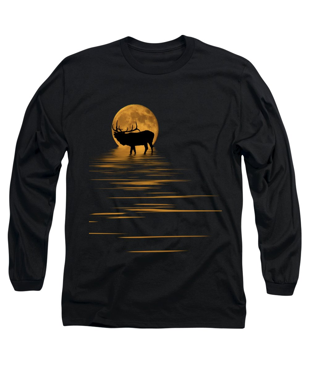 Bugle Long Sleeve T-Shirt featuring the photograph Elk In The Moonlight by Shane Bechler