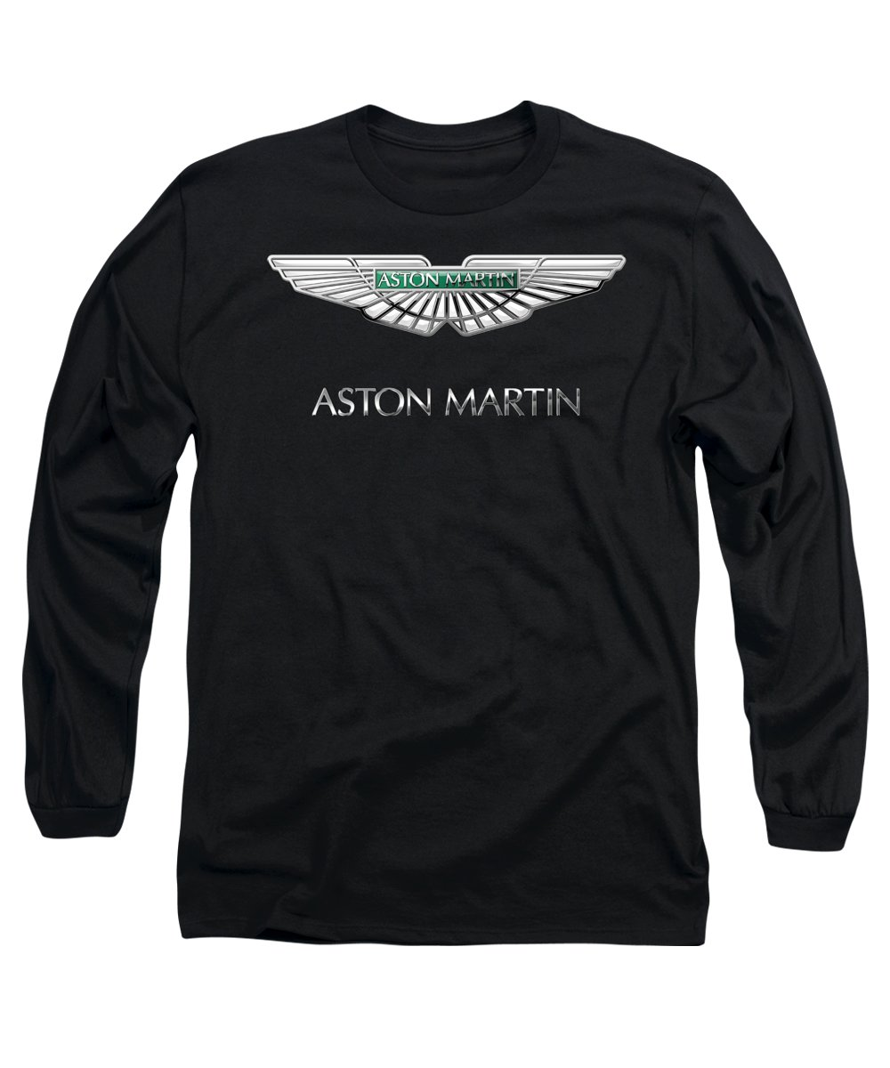 'wheels Of Fortune� Collection By Serge Averbukh Long Sleeve T-Shirt featuring the photograph Aston Martin 3 D Badge On Black by Serge Averbukh
