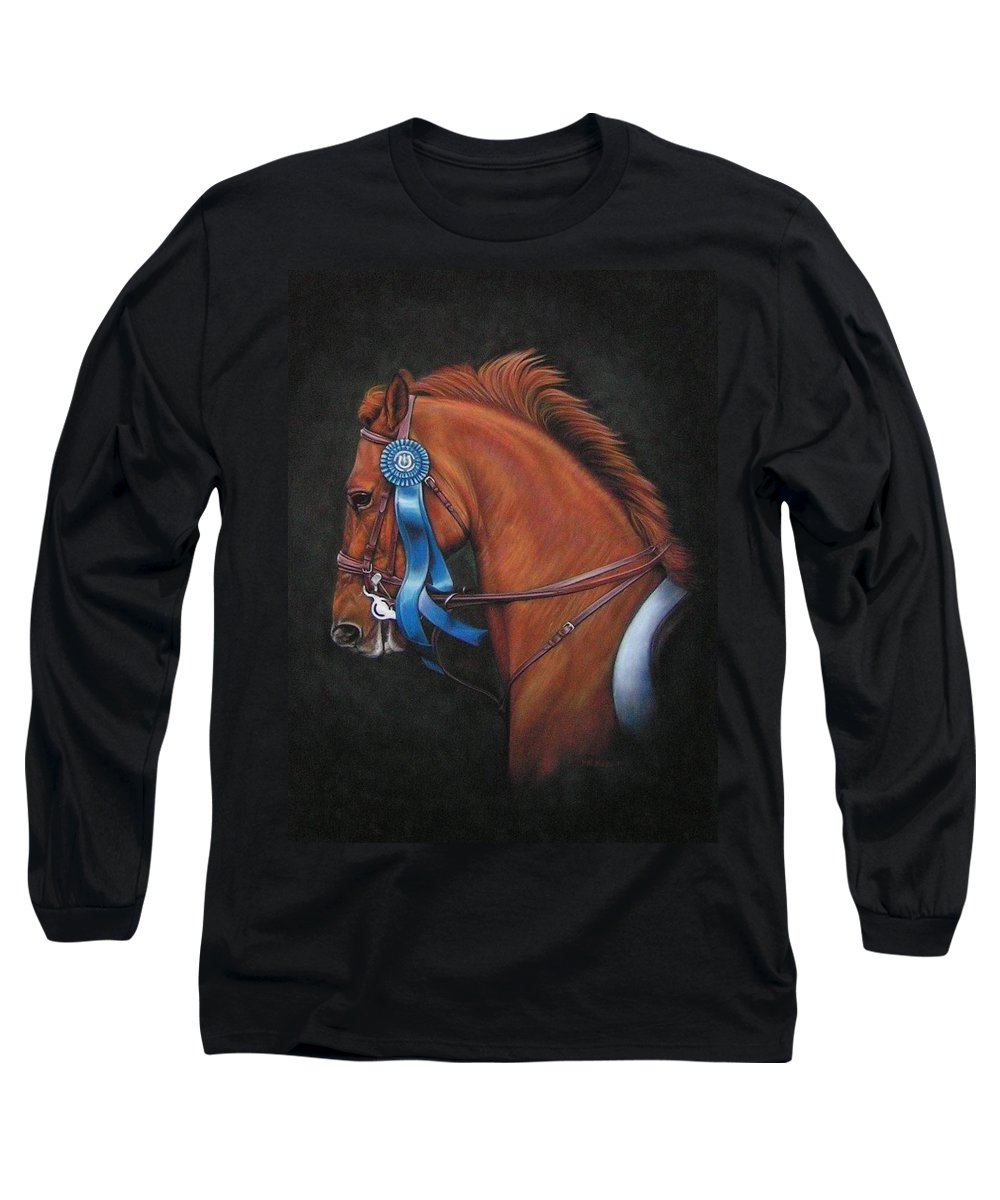 Horse Long Sleeve T-Shirt featuring the painting Attitude by Yvonne Hazelton