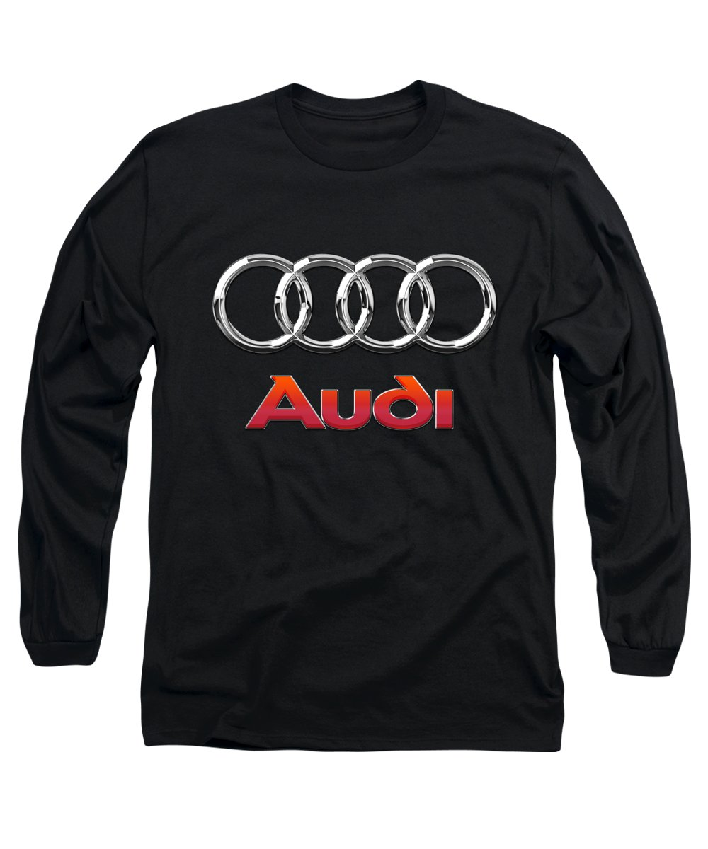 'wheels Of Fortune' Collection By Serge Averbukh Long Sleeve T-Shirt featuring the photograph Audi 3 D Badge On Black by Serge Averbukh