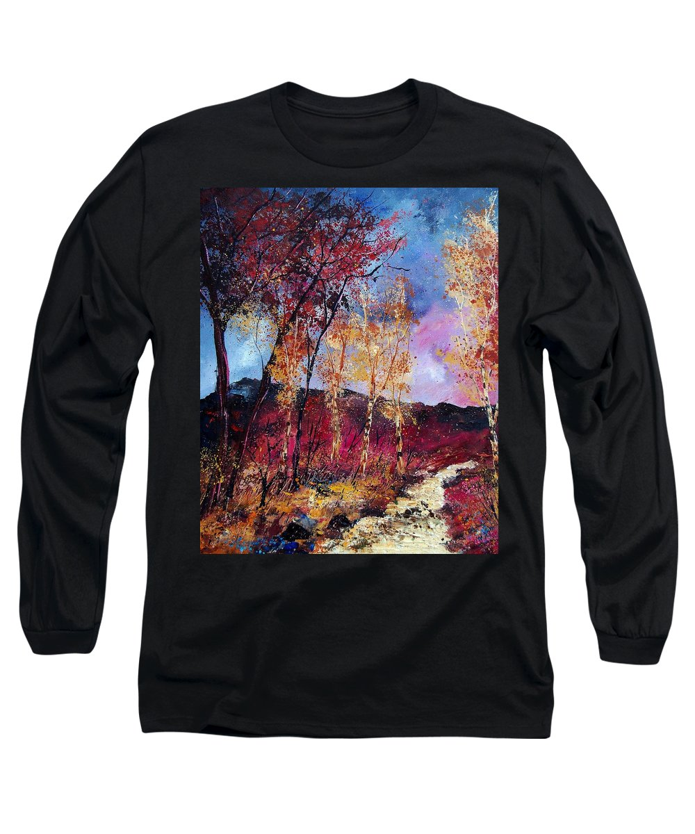 Landscape Long Sleeve T-Shirt featuring the painting Autumn 760808 by Pol Ledent