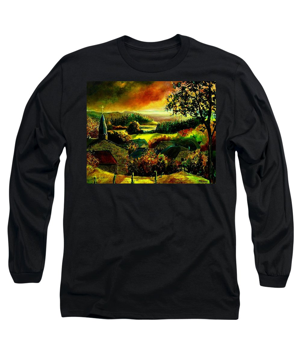 Landscape Long Sleeve T-Shirt featuring the painting Autumn In Our Village Ardennes by Pol Ledent