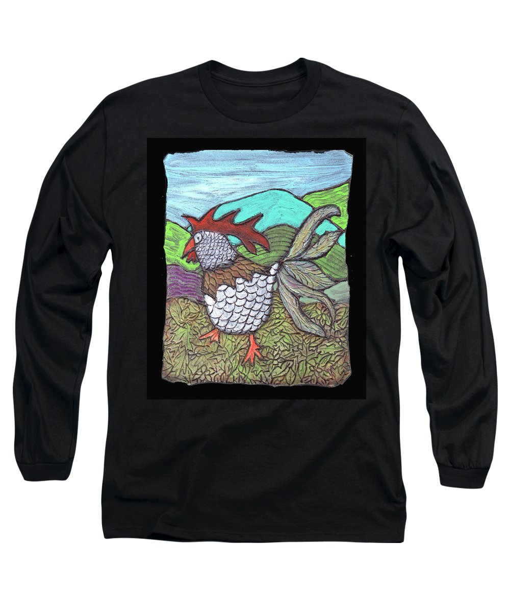 Chicken Long Sleeve T-Shirt featuring the painting Autumn Strut by Wayne Potrafka