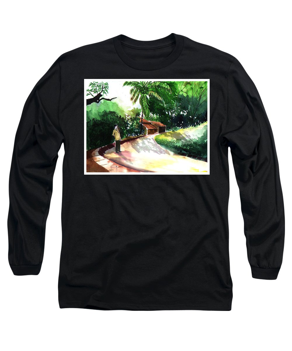 Water Color Watercolor Landscape Greenery Long Sleeve T-Shirt featuring the painting Awe by Anil Nene