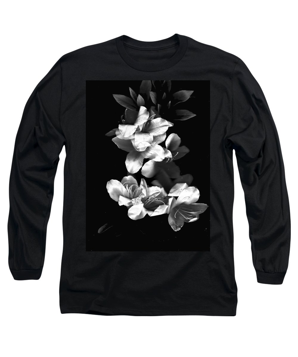 Azaela Long Sleeve T-Shirt featuring the photograph Azaela Blossom In Black And White by Wayne Potrafka
