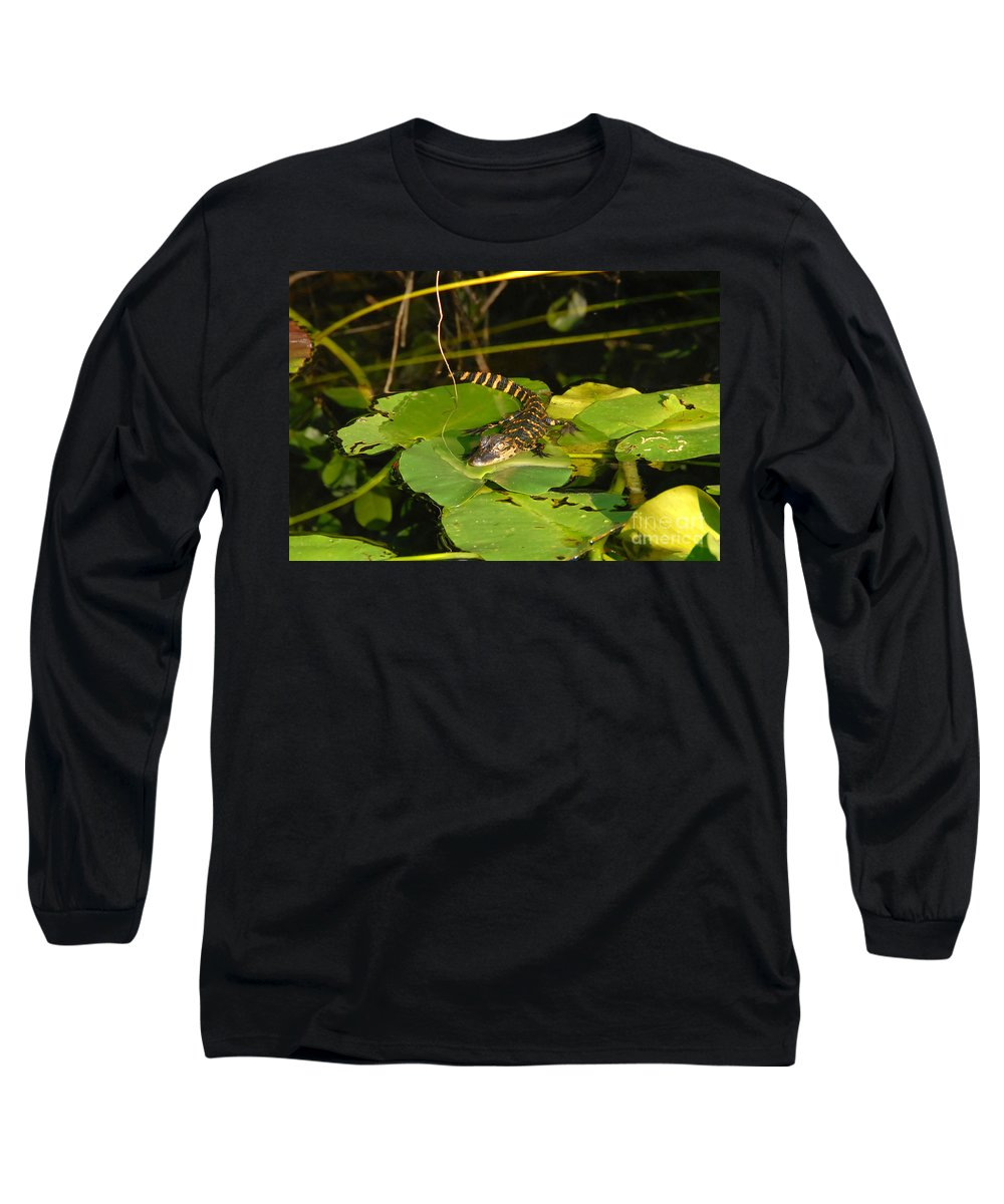 Baby Long Sleeve T-Shirt featuring the photograph Baby Alligator by David Lee Thompson