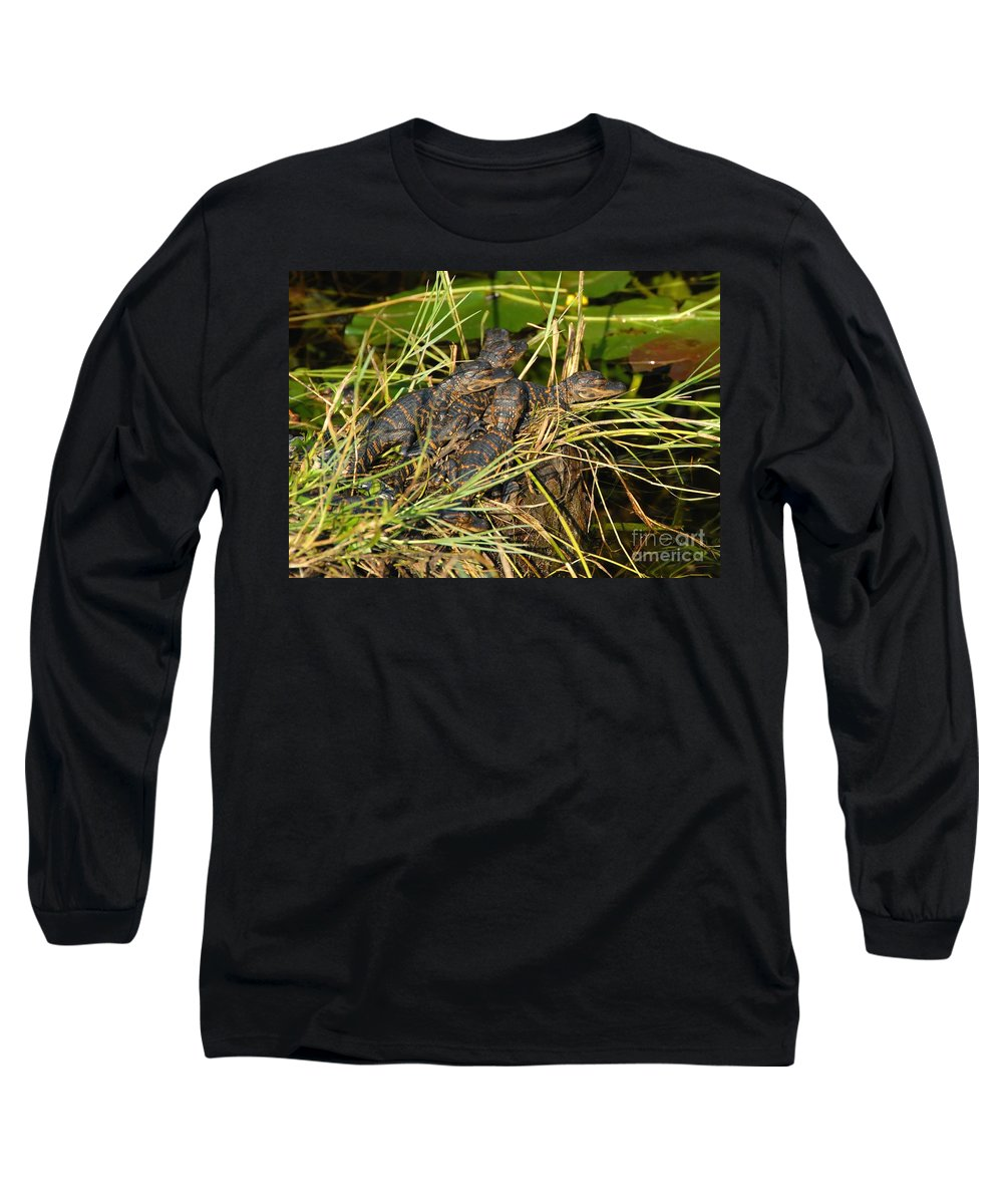 Alligators Long Sleeve T-Shirt featuring the photograph Baby Alligators by David Lee Thompson