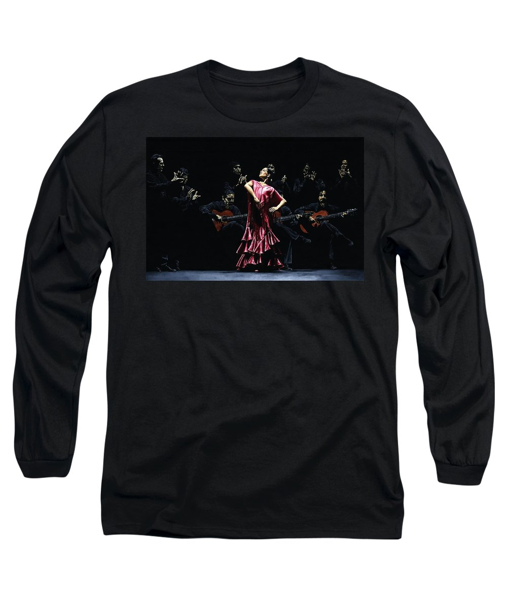 Flamenco Long Sleeve T-Shirt featuring the painting Bailarina Orgullosa Del Flamenco by Richard Young